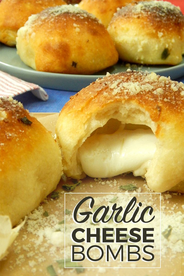 "These little garlic ""cheese bombs"" are the perfect warm snack or appetizer for any occasion."