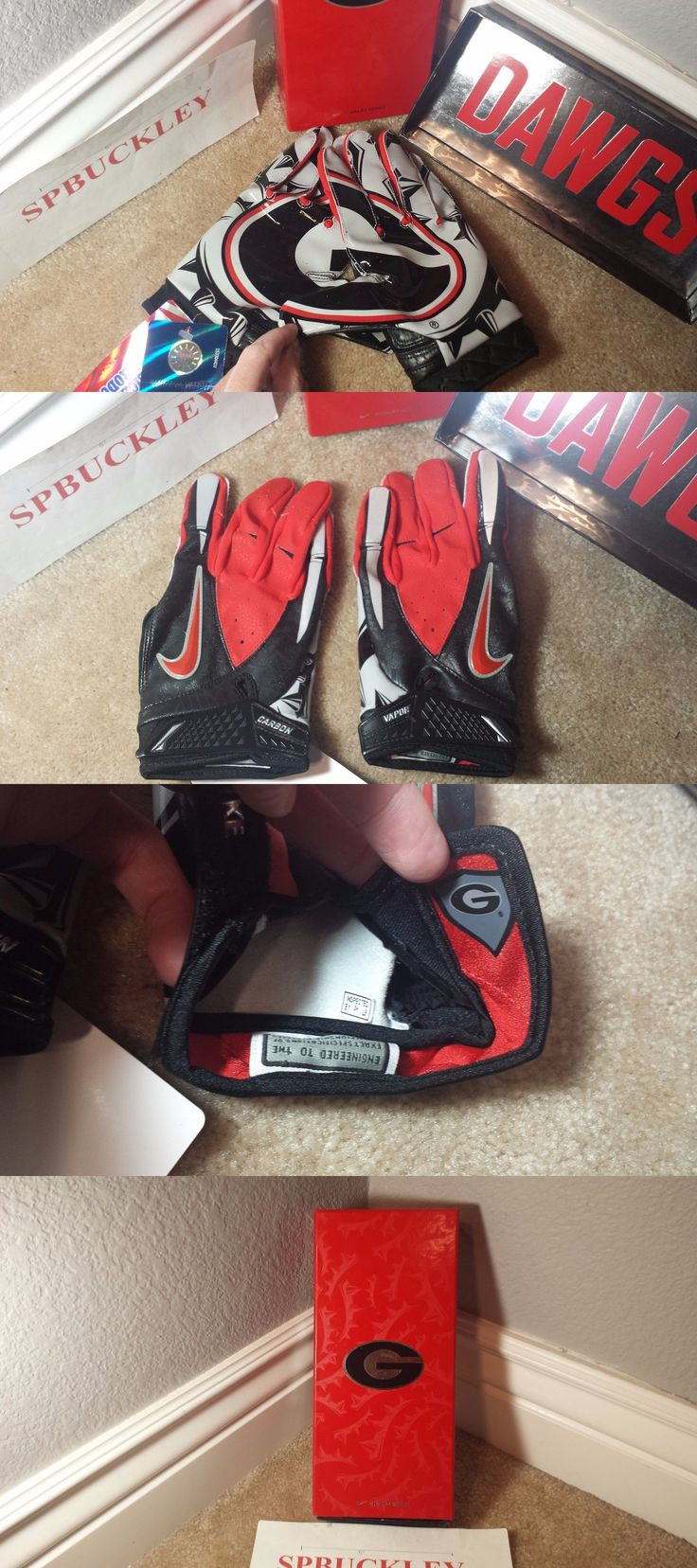 Gloves 159114: Nike Vapor Carbon Adult Xl Ncaa Georgia Bulldogs Football Receiver Gloves, New -> BUY IT NOW ONLY: $119.99 on eBay!