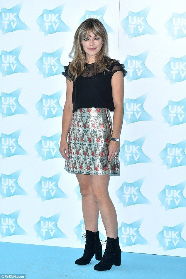 Metallic madness: Smack The Pony actress Sarah Alexander looked chic in a…