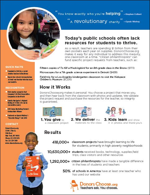 One-page flyer explaining how DonorsChoose works. Would be great to send home to parents!