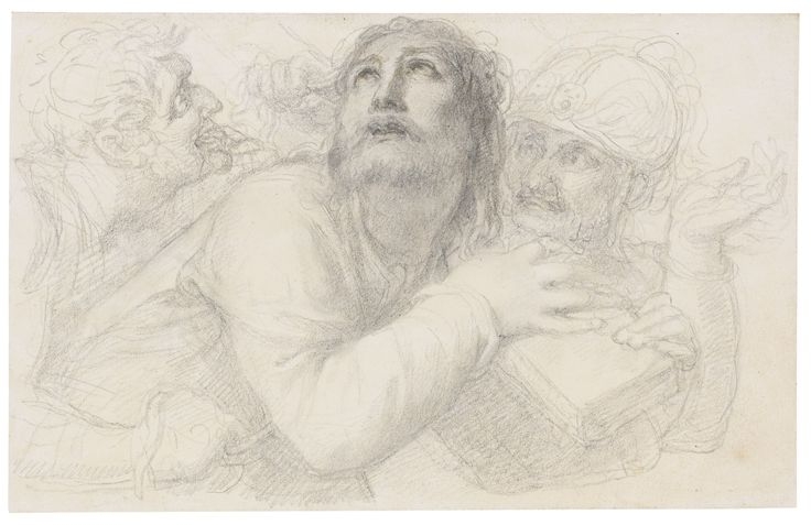 Richard Cosway, R.A. OAKFORD, DEVON 1742 - 1821 LONDON CHRIST CARRYING THE CROSS WITH SAINT VERONICA OFFERING THE SUDARIUM; TOGETHER WITH CHRIST CARRYING THE CROSS WITH TWO SOLDIERS TORMENTING Quantity: 2 Each pencil on wove paper, each laid onto their original washlined mounts The first: 155 by 202 mm; the second: 111 by 178 mm: