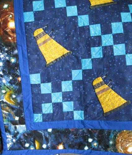Daleks swarm the TARDIS on this delightful Doctor Who quilt