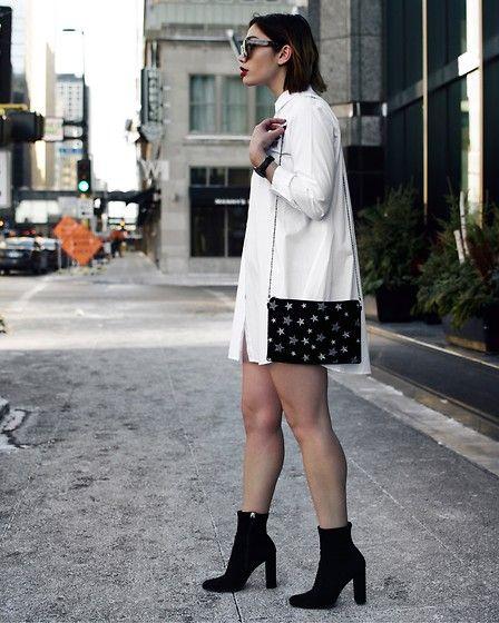 "Get this look: http://lb.nu/look/8566583  More looks by Elizabeth Strecher: http://lb.nu/user/5902462-Elizabeth-S  Items in this look:  Steve Madden Bag, Steve Madden ""Edit"" Bootie, Zara White Dress"