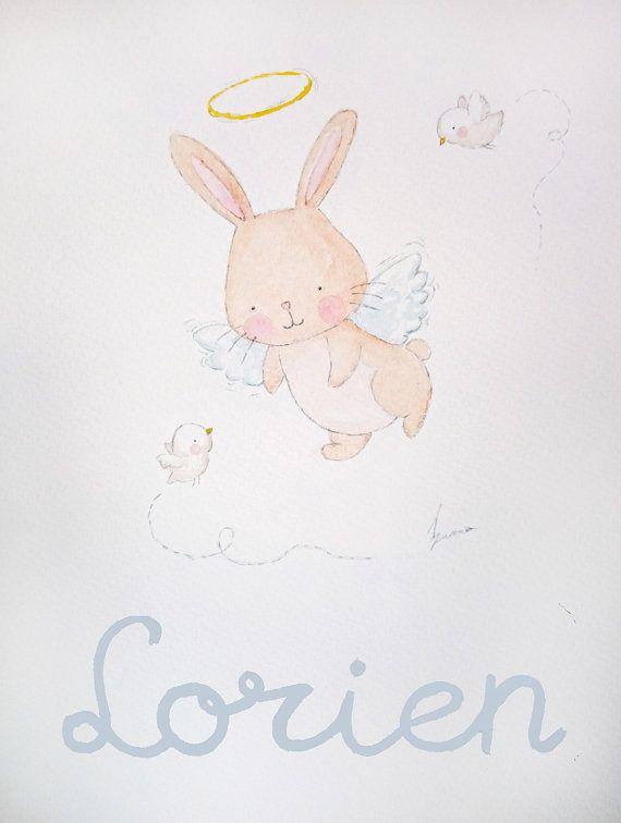 Conejito angel. Acuarela original personalizada con por AidaZamora