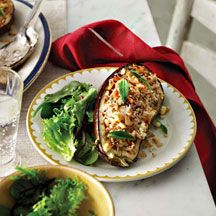 Rice and feta stuffed eggplant