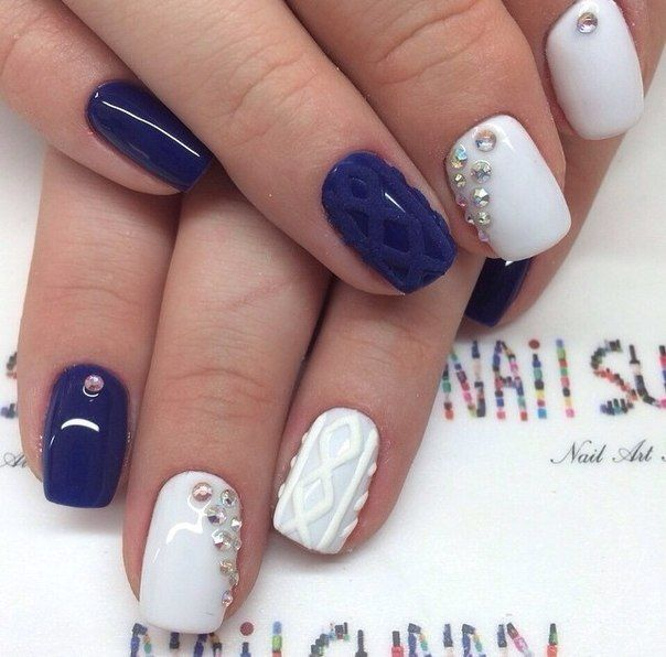 The 25 best two color nails ideas on pinterest galaxy nail dark blue and white color nail art design prinsesfo Gallery