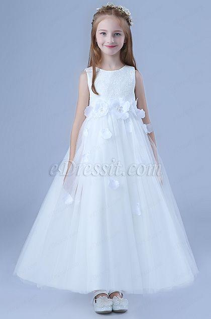 e406e61712cc White Bowknot Long Wedding Flower Girl Dress (27202807) in 2019 ...