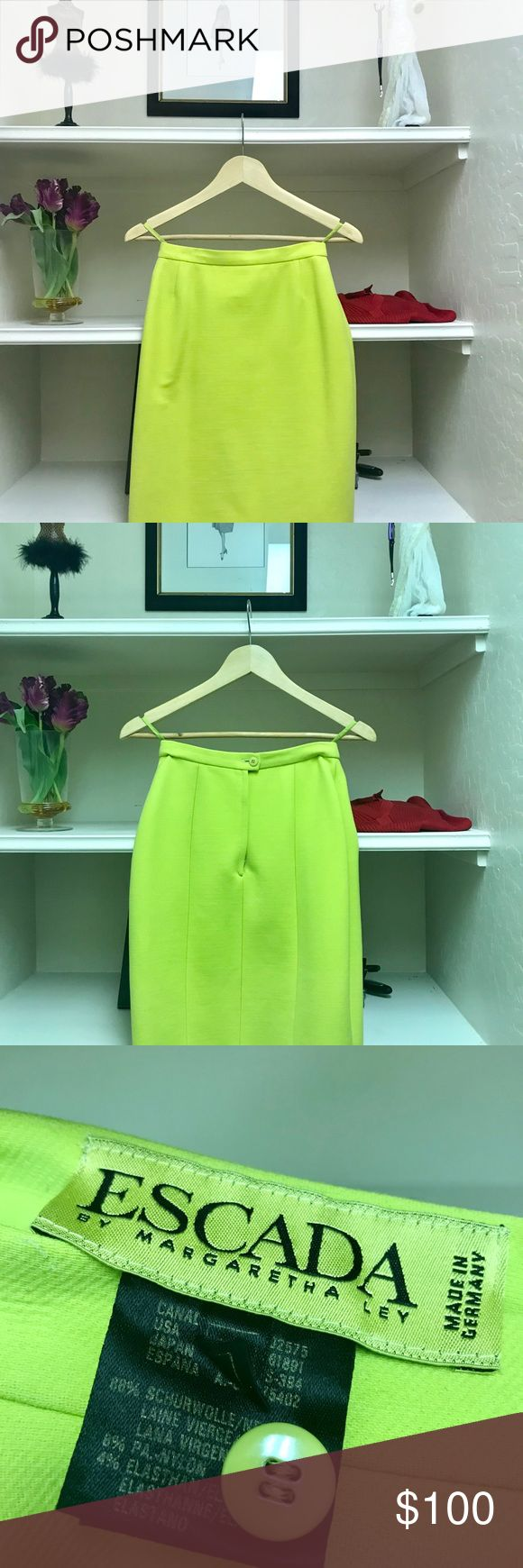 ESCADA lime  green shirt mid-thigh skirt The skirt is lime green in color and is of sign 34 European. It has no slit in the rear, but mid thigh to short for easy walking! Escada Skirts Mini