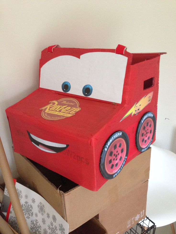 Lightning McQueen Halloween Costume tutorial. How to make lightning mcqueen from a cardboard box. Link to Blog http://stayingathomewiththelittledudes.com/2015/10/25/halloween-costumes-lightning-mcqueen/