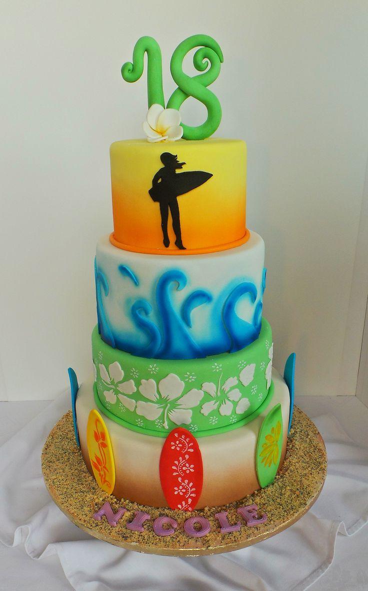 Girls surfer themed 18th birthday cake. Design was ...