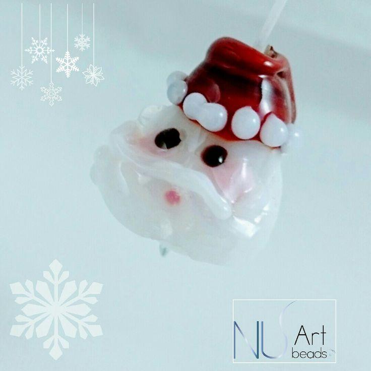 Christmas lampwork bead