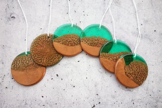 Emerald Green and Copper Resin Decorations by WordosaurusText