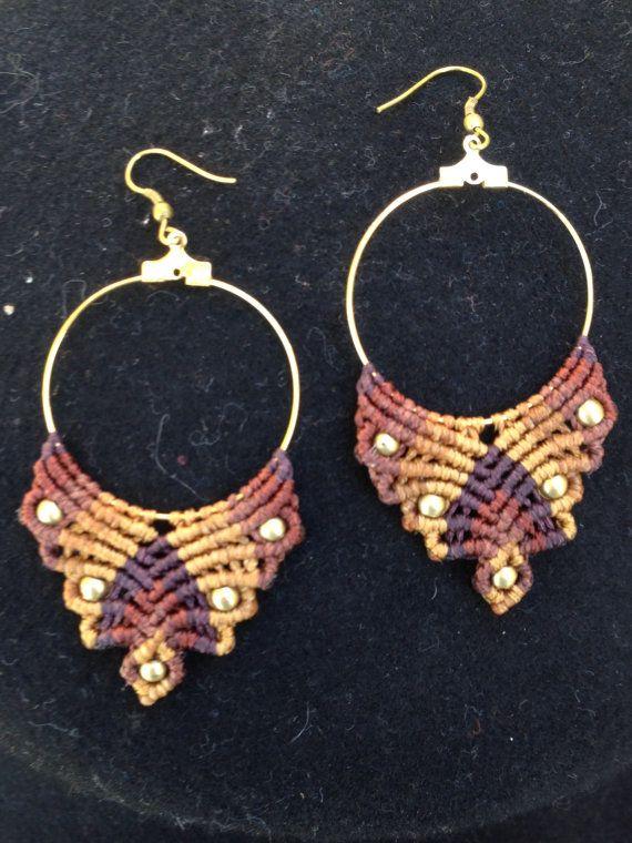 Tribal gypsy macrame earrings with brass beads. by ARTofCecilia