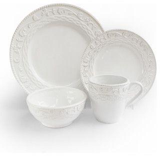 Atria 16 Piece Dinnerware Set, White - traditional - dinnerware - by Jay Import