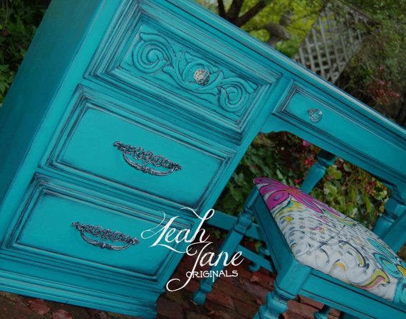Antique furniture: teal Hand Painted Glamour Retro  Aqua Teal Blue by TheLeahJaneOriginals, $695.00