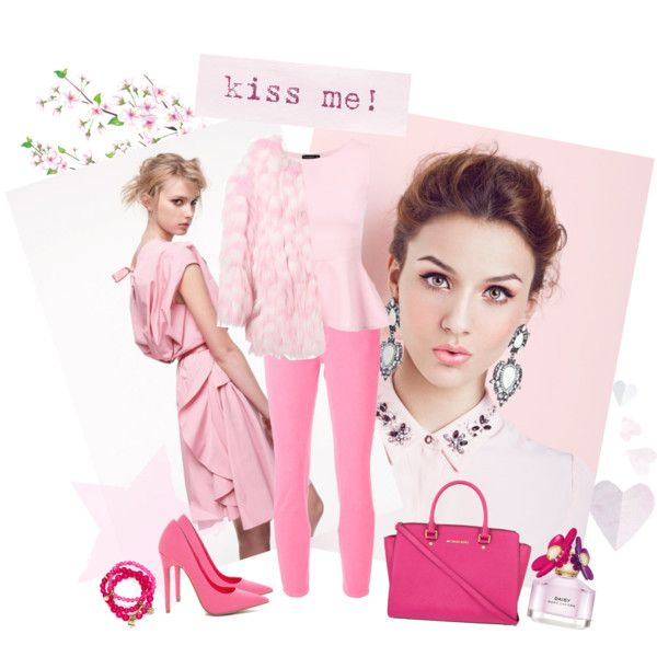 Kiss me in pink by miqua on Polyvore featuring Mode, Chloé, Christopher Kane, MICHAEL Michael Kors, Sequin, Marc Jacobs and Nina Ricci