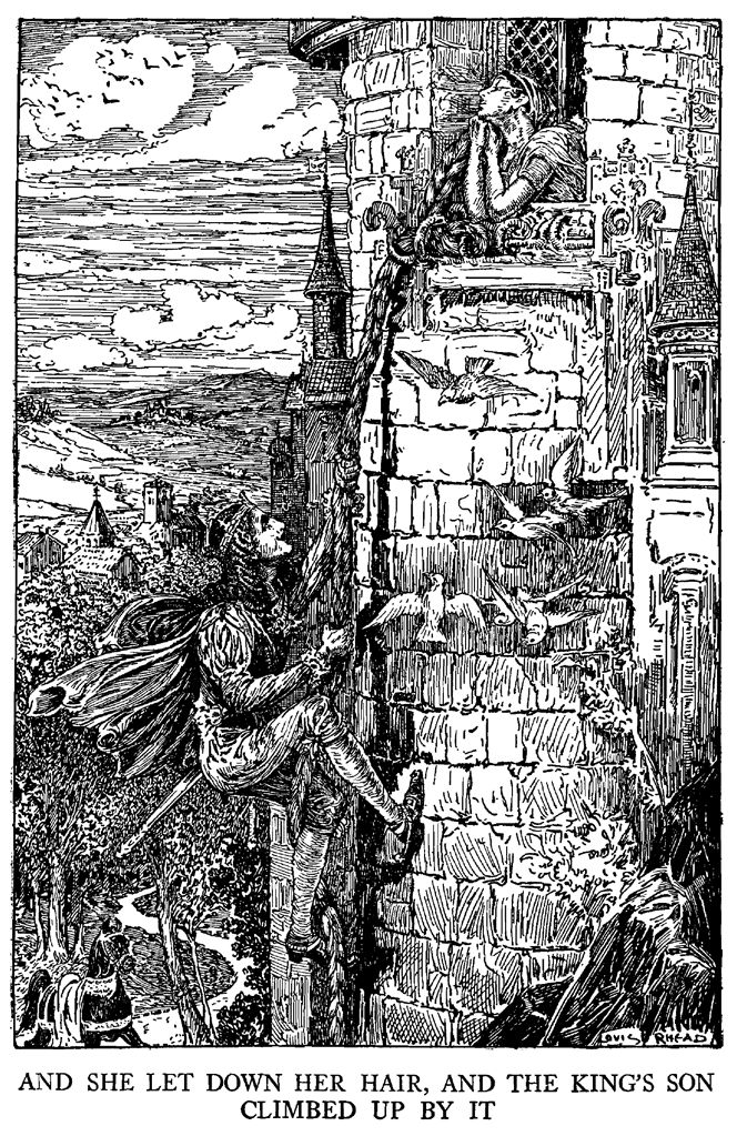 Rapunzel - Black and White Illustration by Louis Rhead from 'Grimm's Fairy Tales – Stories and Tales of Elves, Goblins and Fairies – with Louis Rhead Illustrations' originally published in 1917