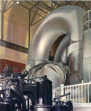 "CHARLES SHEELER 1883-1965  Steam Turbine, 1939  Oil on canvas, 22 X 18"""