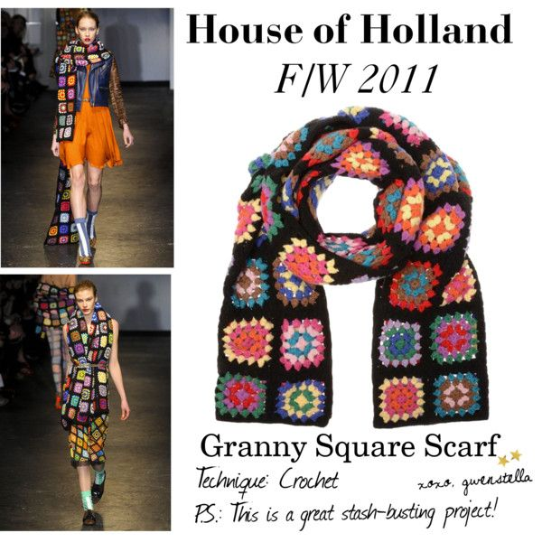 DIY INSPIRATION: House of Holland's Granny Square Scarf. I've always loved the black with bright crochet colors.