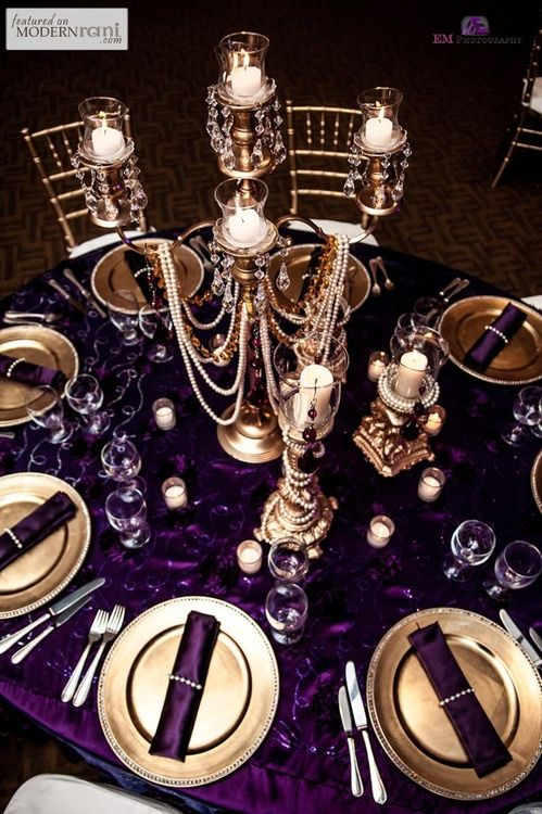 Purple and Gold Tablescape – spotted on MODERNRANI