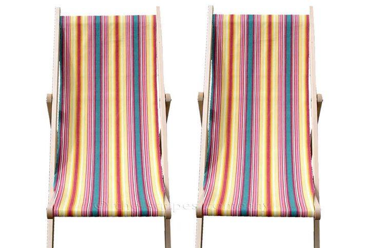 yellow, pink, green - Deckchair Canvas Vintage Archive Striped Fabrics | Vintage Deckchair Fabric