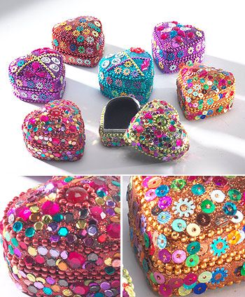 Jewelled heart trinket boxes complete with sequins and