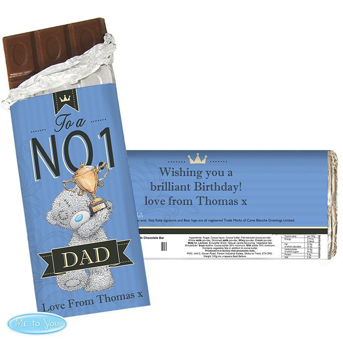 A perfect sweet treat for him.  Personalised Me to You No 1 Milk Chocolate Bar For Him.
