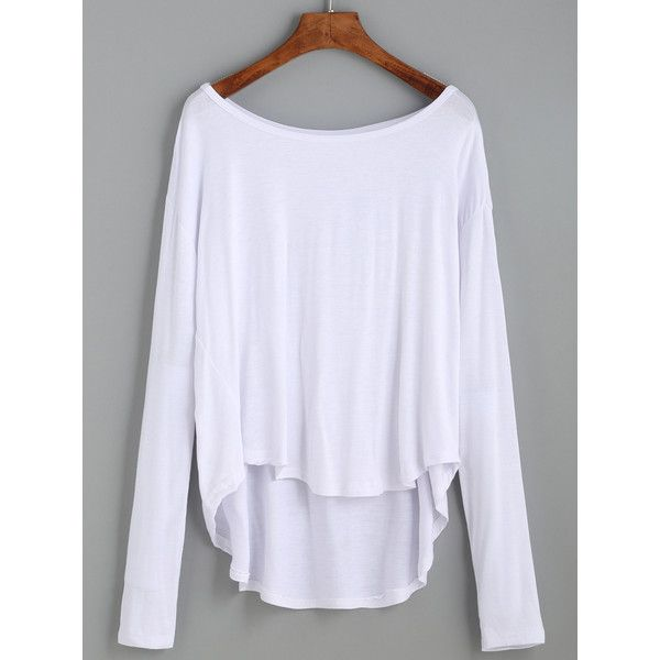 White Drop Shoulder High Low T-shirt ($8.99) ❤ liked on Polyvore featuring tops, t-shirts, blusas, white, long sleeve t shirts, white long sleeve t shirt, stretch t shirt, white summer tops and white long sleeve top