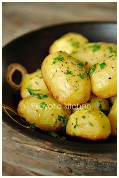 Potatoes baked in Chicken Broth, Garlic & Butter. They get crispy on the bottom but stay fluffy inside. Full of flavor & so good!