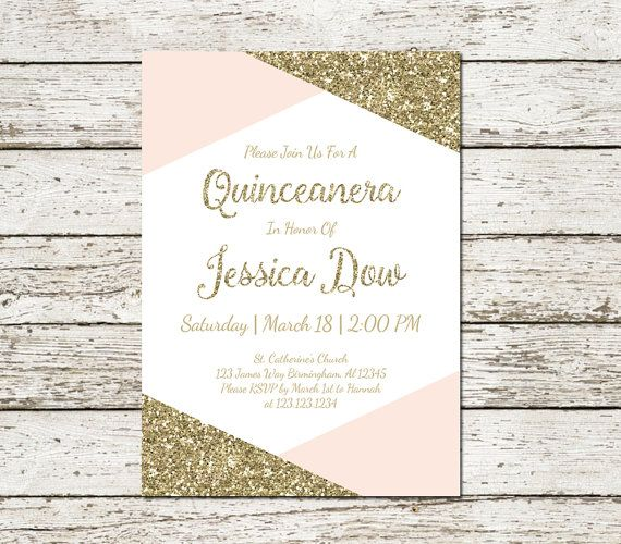 Quinceanera Blush Pink and Gold Glitter Invitation Printable Sweet Fifteen Sixteen Download Digital File Chic Elegant