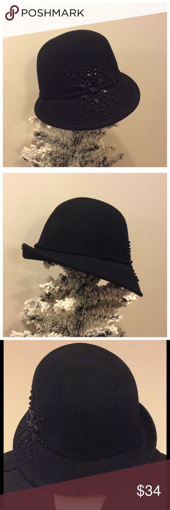 NWOT John Callahan Hat John Callanan Legacy Hat. 100% Wool.  Black with small amount of black bead work on the side. Subtle style and class.  NWOT!! John Callanan Accessories Hats