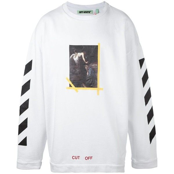Off-White 'painting' print striped sweatshirt ($465) ❤ liked on Polyvore featuring men's fashion, men's clothing, men's hoodies, men's sweatshirts, white and mens white sweatshirt