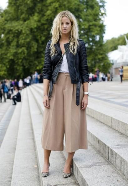 21 Ways to Wear the Culottes Fashion Trend - beige culottes styled with a black leather moto jacket + leopard print heels