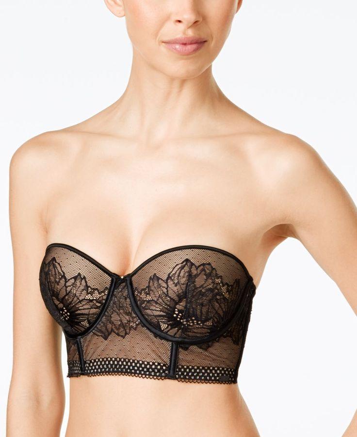 Calvin Klein Ck Black Sheer Lace Strapless Bra QF1476