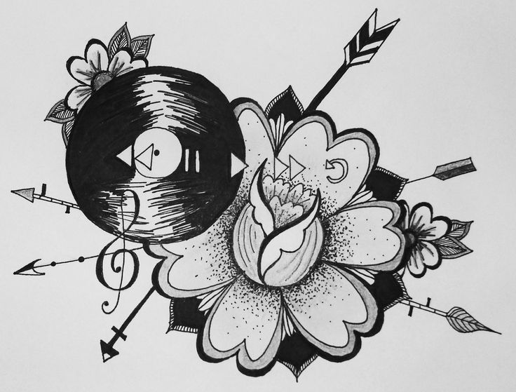 music note record pop punk inspired floral arrow tattoo design illustration pen and ink black and white drawing