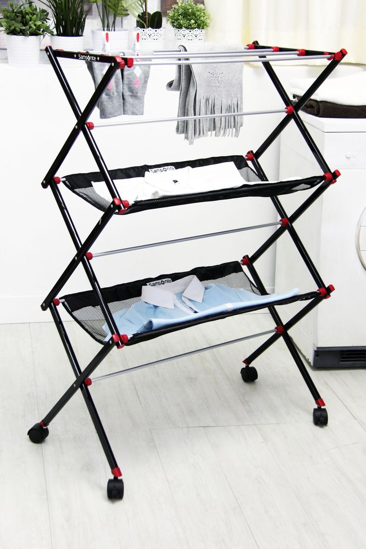 3 tier laundry drying rack // with mesh shelves for laying flat garments, collapsible for easy storage #product_design