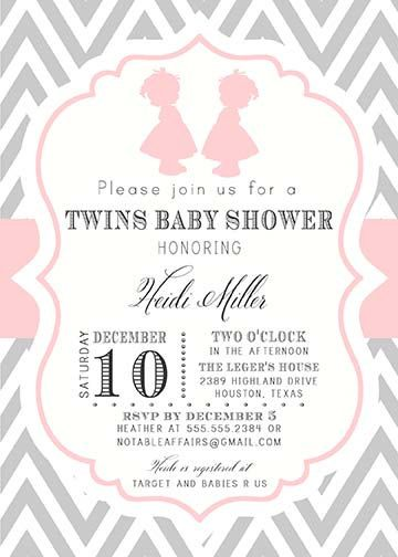 Gray And Light Pink Chevron Girl Silhouettes Baby Shower Twins Baby Shower  Invitation   Colors Can Be Changed
