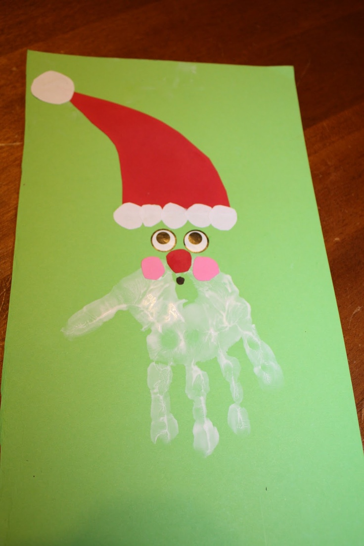 Table of Four Homemade hand print Christmas cards