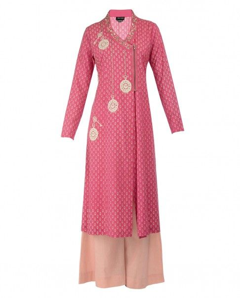 Coral Pink Watch Applique Kurta Set