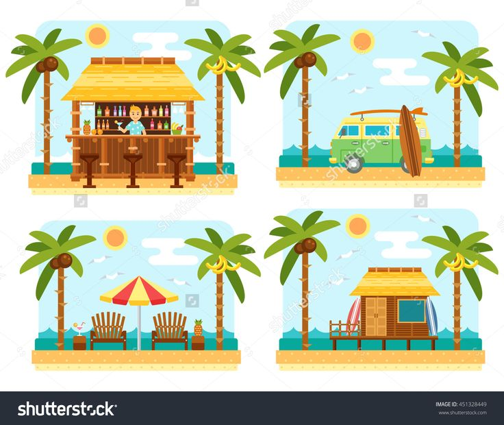 Beach scene with bar, surf van, umbrella, chair and  bungalow hotel. Flat summer palm tree and sea waves vector landscape.
