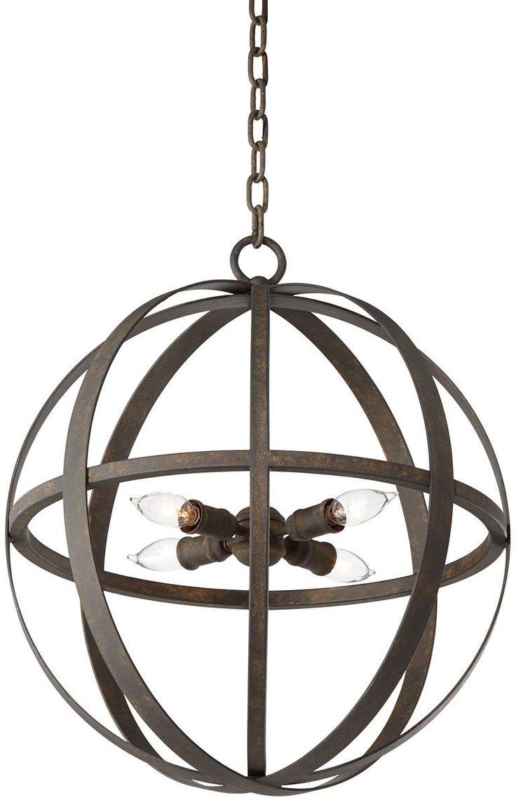 weathered iron pendant light.