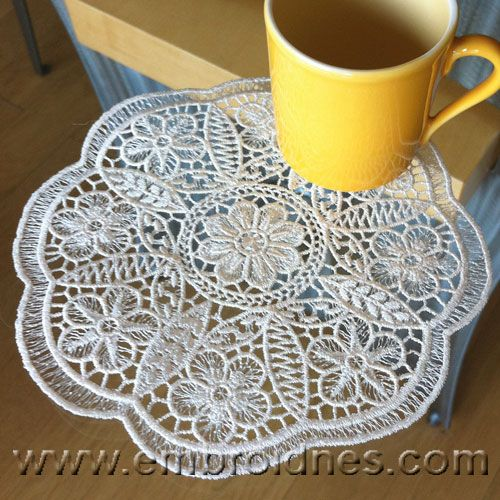 Floral free standing lace edging machine embroidery set - Google Search