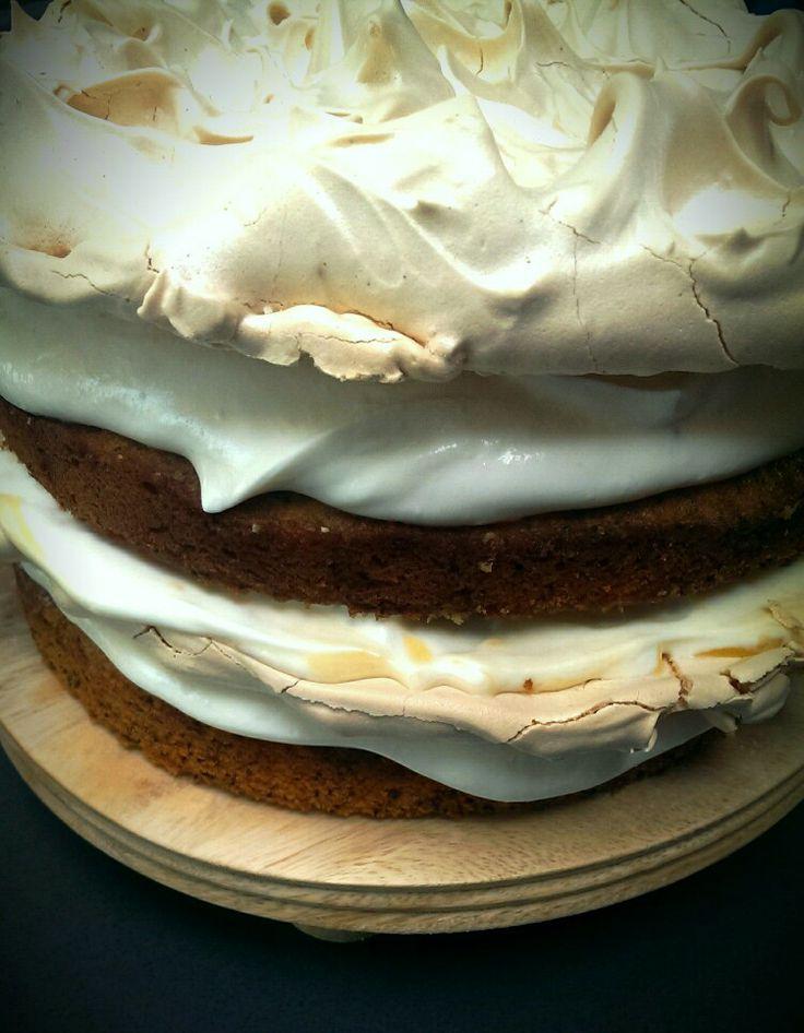 Ridiculously large poppy seed, lemon curd, pavlova cake.