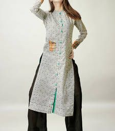 Buy Off-white Cotton Georgette Full Sleeves Kurti kurtas-and-kurti online