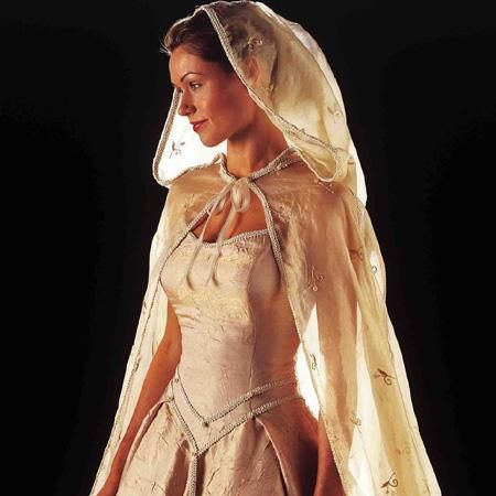 Yeah, like this one. Lacy, gauze-y wedding hood.