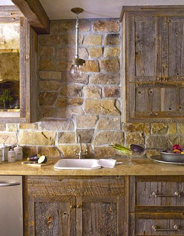 Prep Sink with Gooseneck Faucet (and I just like the rustic cabinets and wall)  From House Beautiful Magazine