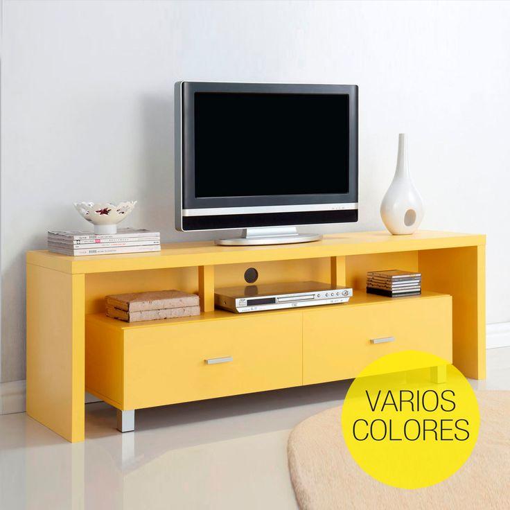 Mesa de televisión 2 cajones de colores   Muebles baratos online
