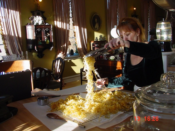 Preparing Lemon Candy Peel for a Wedding Creation of Cream Cheese Scented with Meyer Lemons and Candied Peel.  Yum!