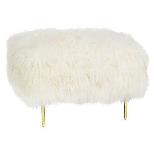 Curly Mandy Square Ottoman, White