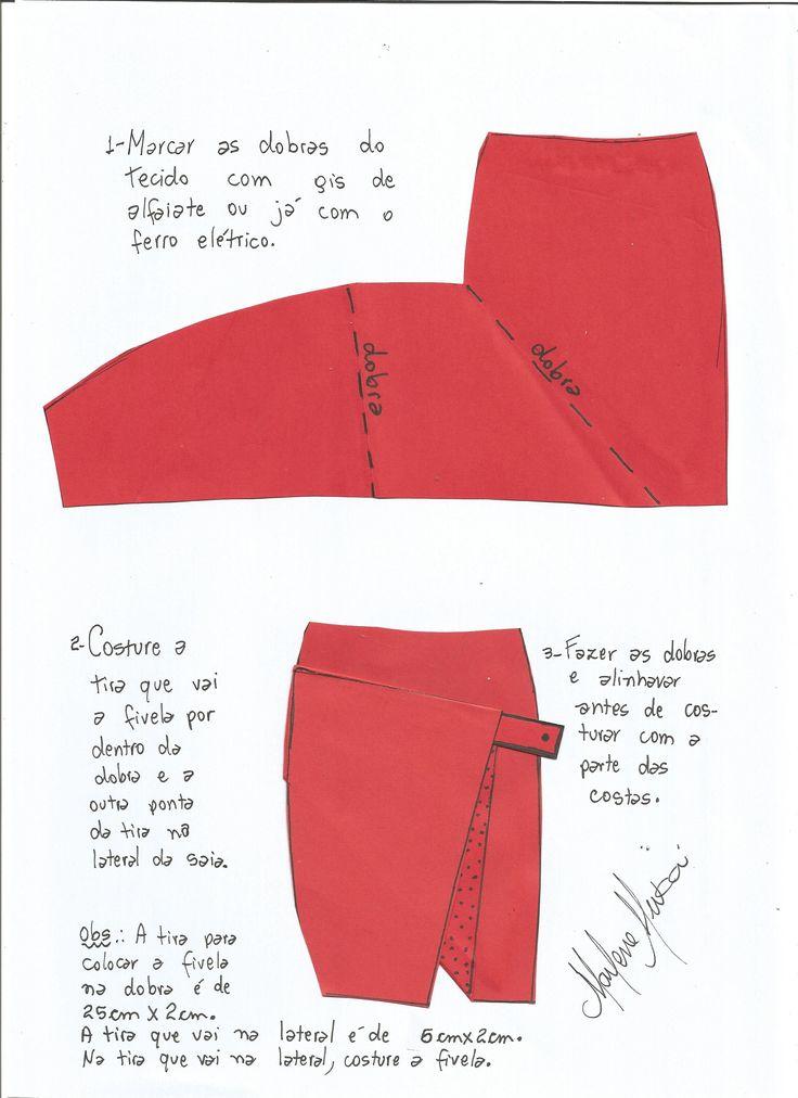 Esquema de montagem de saia envelope Dion Lee.